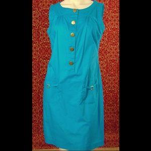 RICHARD MALCOLM turquoise cotton sheath dress 6